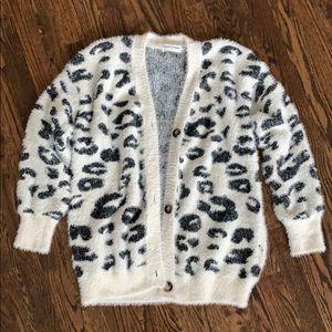 Leopard print cardigan sweater